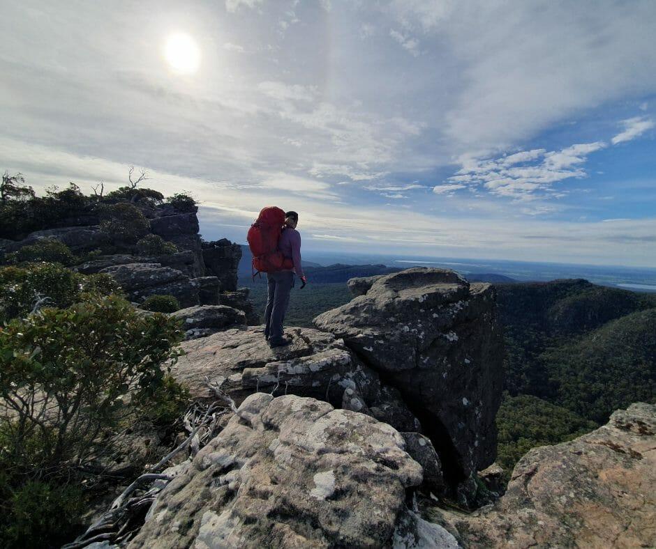 Grampians Adventure single hiker on lookout rock